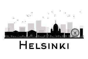 Helsinki City skyline silhouette