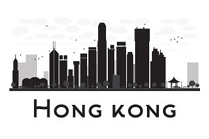 Hong Kong City skyline silhouette