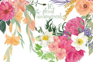 10 Watercolor Floral arrangements