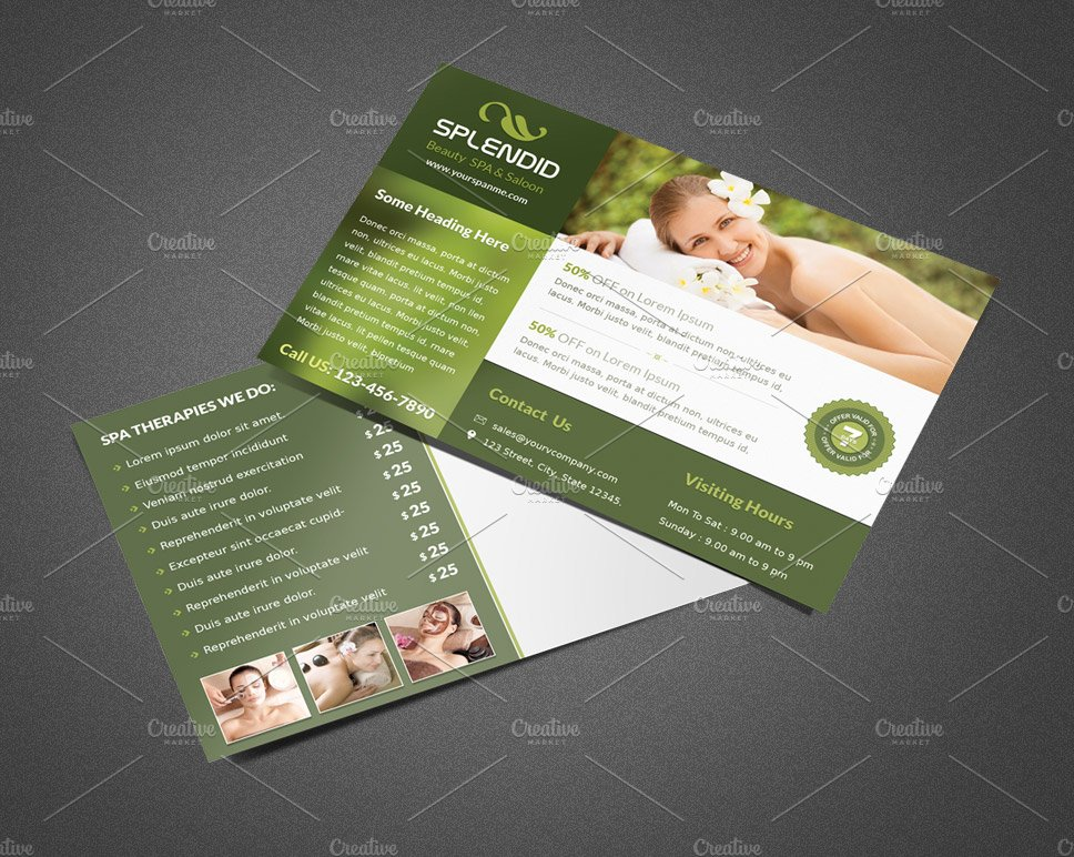 splendid beauty spa salon postcard postcard templates