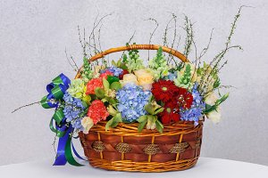 Flower in wood basket
