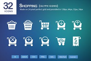 32 Shopping Glyph Icons