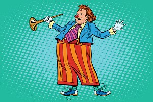Circus clown in bright clothes