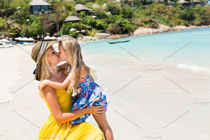 Happy Mothers day. Cute girl and mom - Holidays