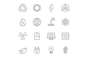Eco energy outline icons