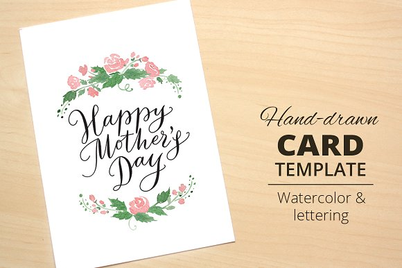 Happy mothers day card template card templates creative market happy mothers day card template maxwellsz