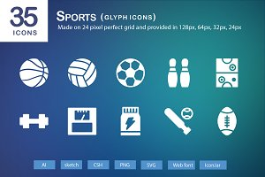 35 Sports Glyph Icons