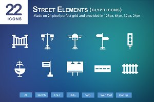 22 Street Elements Glyph Icons
