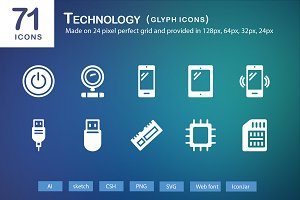 71 Technology Glyph Icons