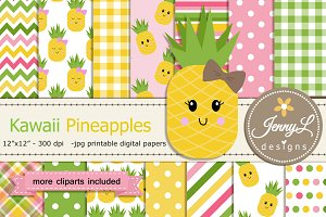 Kawaii Pineapples Digital Paper