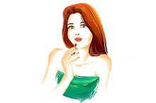 Watercolor fashion girl
