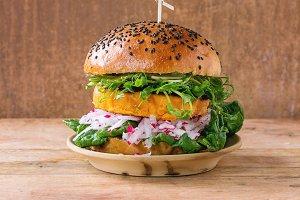 Veggie sweet potato burger