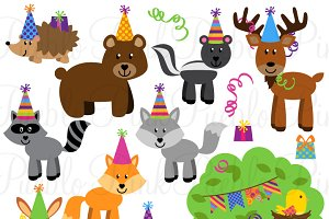Woodland Party Animal Clipart/Vector