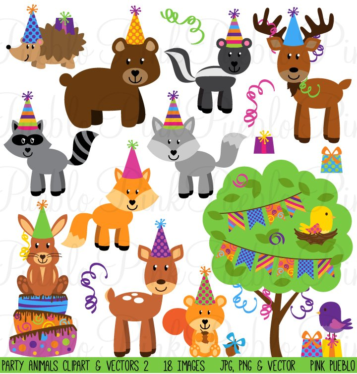 Woodland Party Animal Clipart/Vector ~ Illustrations ...