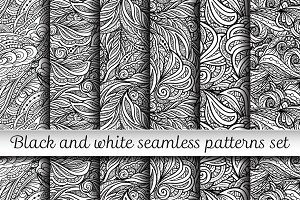 6 black and white seamless patterns