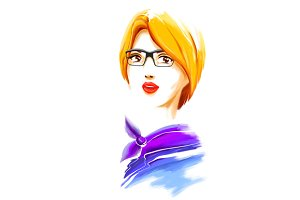 Watercolor fashion girl with glasses