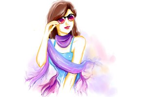 Watercolor woman with sunglasses