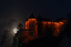 Bled castle with a full moon