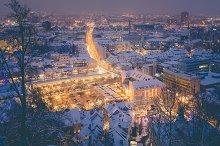 Twilight view of Ljubljana city.