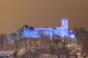 Ljubljana castle at night.