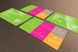 Flat Colorful Business Card 2 in 1