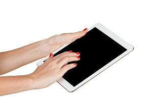 Female hands holding tablet PC