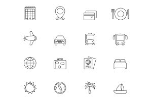 Travel outline icons