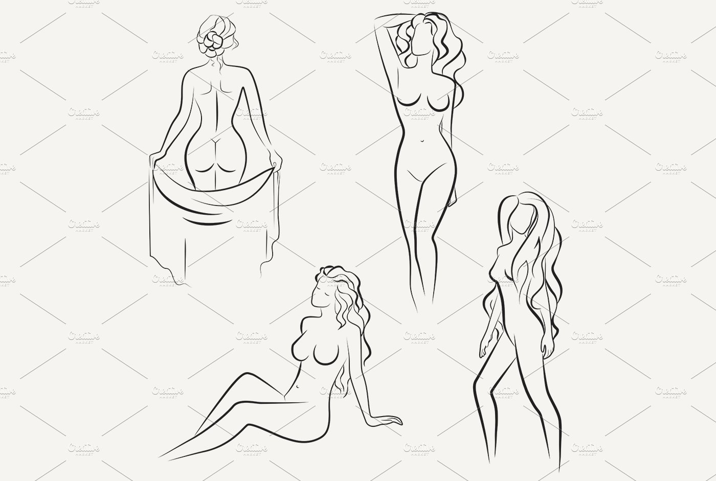 Beautiful line drawing of nude woman graphics creative market
