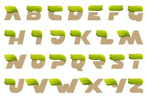 Eco alphabet with green leaves