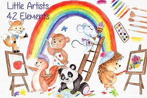 Watercolor animals kids clipart
