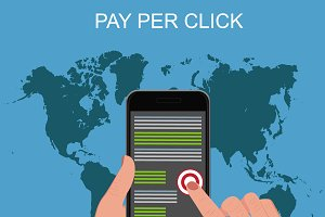 pay per click, hands, mobile