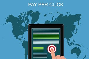 pay per click, tablet, vector