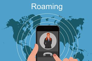 Roaming concept, vector illustration