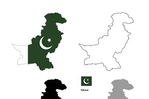 Pakistan country silhouettes