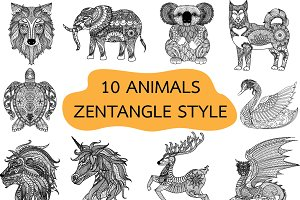 unique animal zentangle-inspired