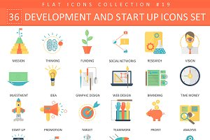 Startup & development flat icons set