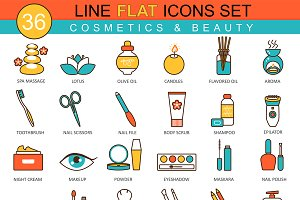 36 Beauty & cosmetics line flat icon