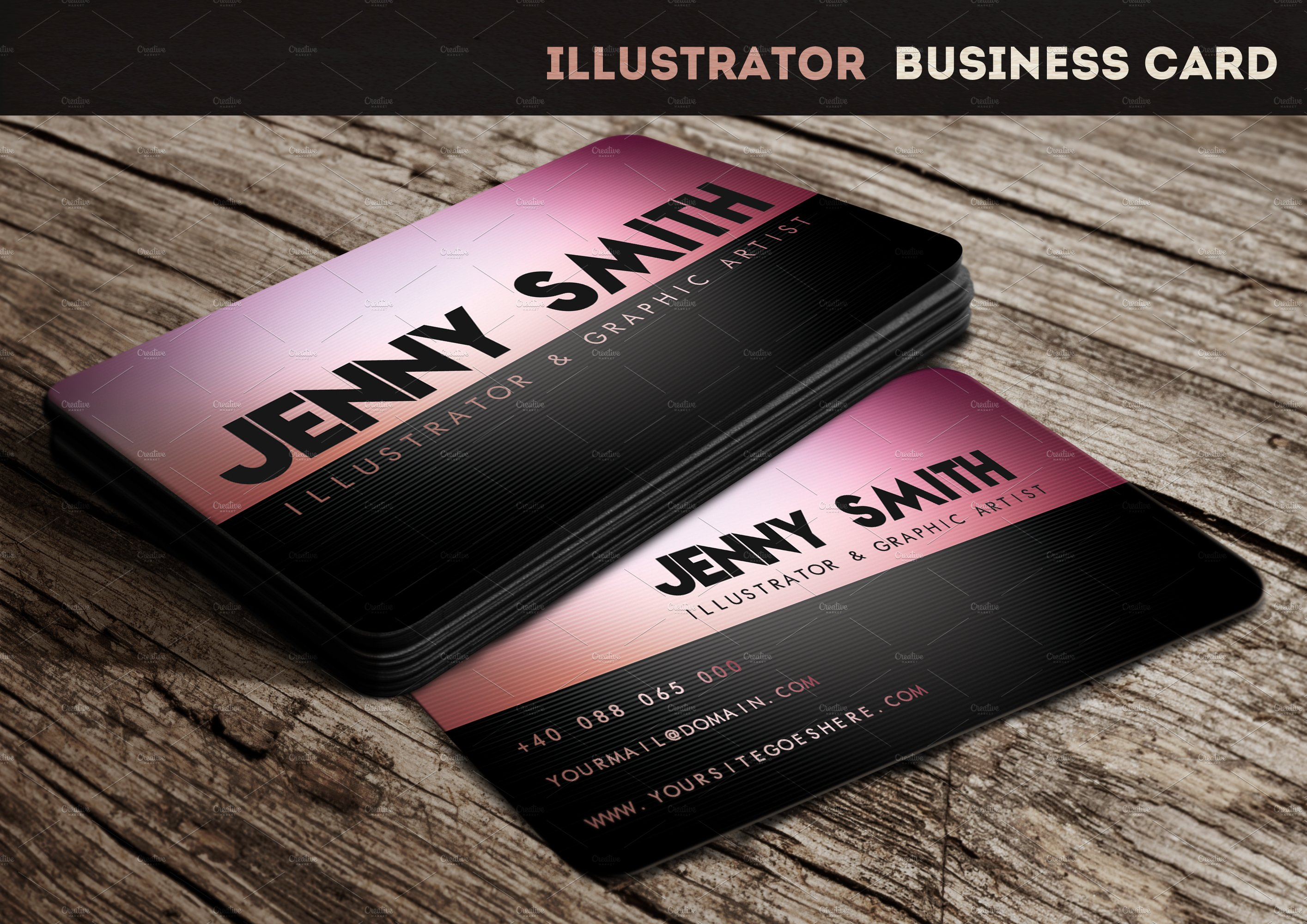 illustrator business card business card templates creative market. Black Bedroom Furniture Sets. Home Design Ideas