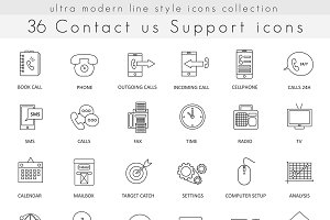 36 Contact us outline line icons set