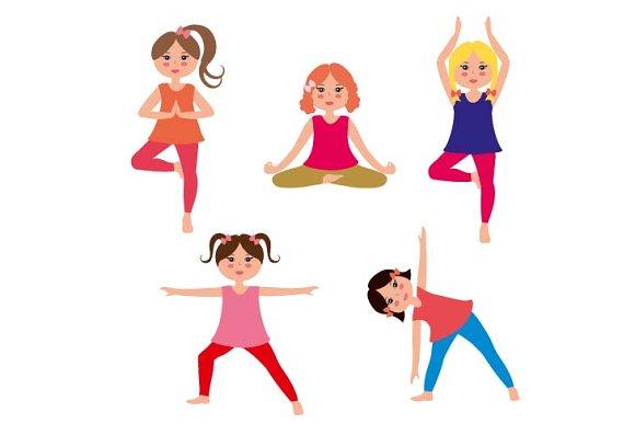 Kids Yoga Vector Set