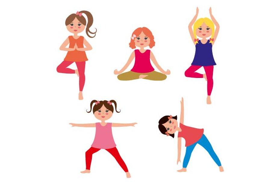Kids yoga vector set | Pre-Designed Illustrator Graphics ...