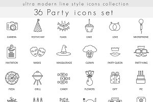 36 Party modern line icons set.