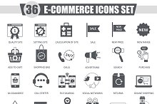 36 E-commerce black icons set.