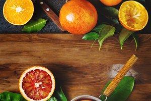 Different sort of orange fruit