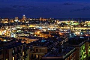 Port of Genoa at night