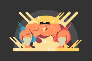 Sumo athletes fight