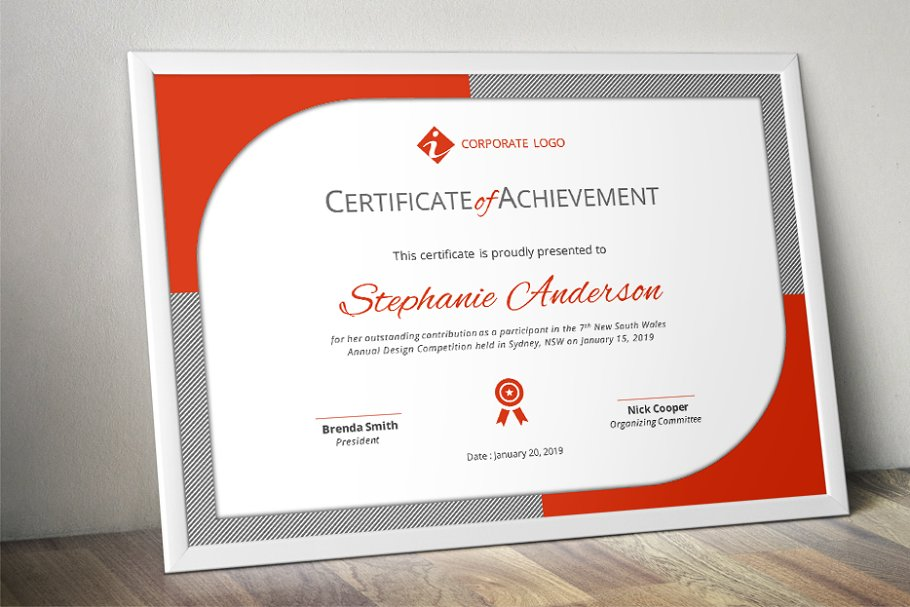 Modern certificate template (docx) ~ Stationery Templates