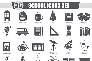 36  School black icons set.