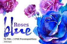 Blue Roses Watercolor Set