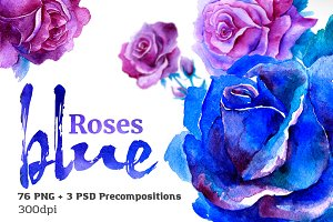 Blue Roses Watercolor Set